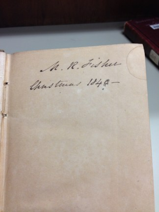 "The only writing in the book is this ownership label. It reads ""W. R. Fisher Christmas 1849 –"""